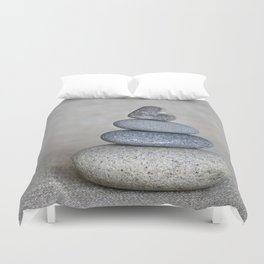 Balanced pebble stack with heart on top Duvet Cover