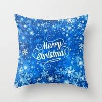 merry christmas Throw Pillows featuring Merry Christmas  by Judy Palkimas