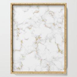 Fine Gold Marble Natural Stone Gold Metallic Veining White Quartz Serving Tray