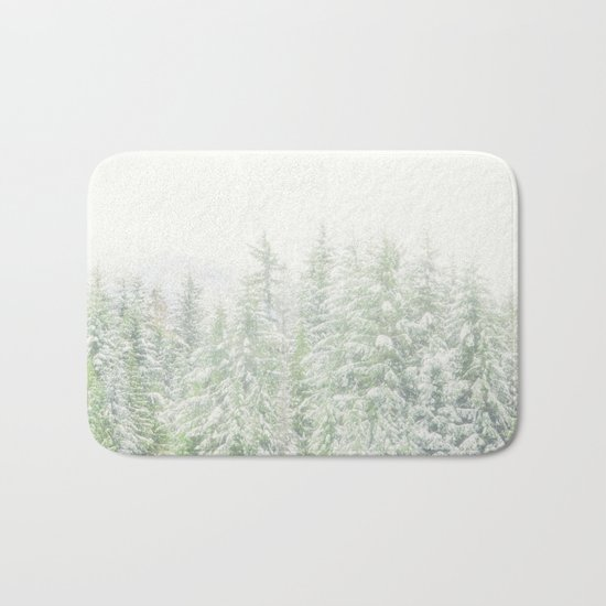 White Winter Forest with a Hint of Mint Bath Mat