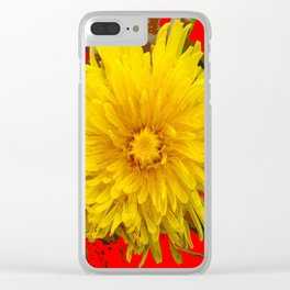 DECORATIVE  YELLOW DANDELION BLOSSOM ON ORGANIC RED ART Clear iPhone Case
