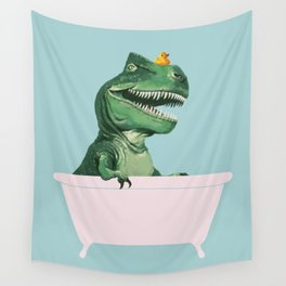 Playful T-Rex in Bathtub in Green Wall Tapestry