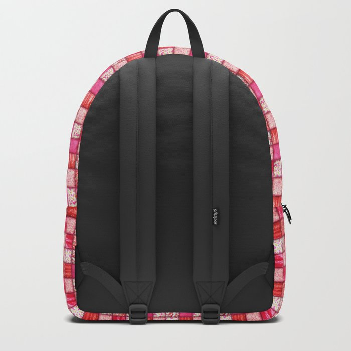 Faux Patchwork Quilting - Pink and Red Backpack