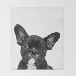 Black and White French Bulldog Throw Blanket