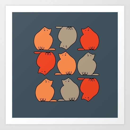 Autumn cat Art Print