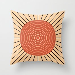 Modern Geometric Sunburst - Mandarin Orange Throw Pillow