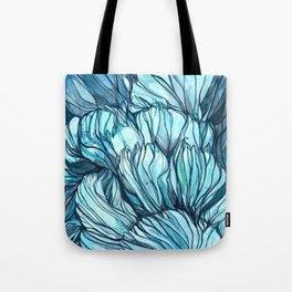Blue Coral Lines Tote Bag