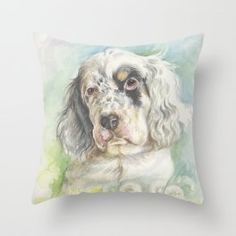 ENGLISH SETTER PUPPY Cute dog portrait on the dandelions meadow Throw Pillow
