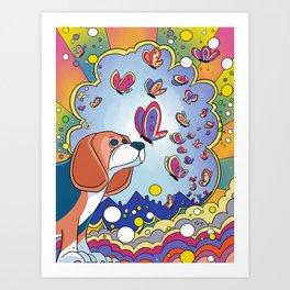 Trippy Beagle Art Print