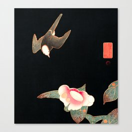 Japanese Woodblock - Swallow and Camellia Canvas Print