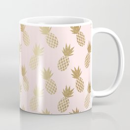 Pink & Gold Pineapples Pattern Coffee Mug