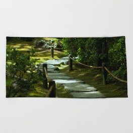 Moss gardern path Beach Towel