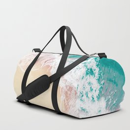 Teal and Peachy | Aerial Beach Print Duffle Bag