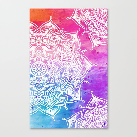 White Mandala on Watercolour Canvas Print