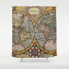 Vintage Map of The World (1596) Shower Curtain