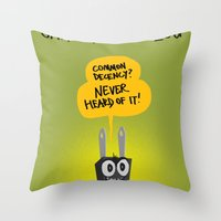 shameless Throw Pillows featuring Shameless Plug by David Kantrowitz