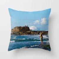puerto rico Throw Pillows featuring Pescador en Villa Pesquera, Isabela, Puerto Rico by Silmagerie