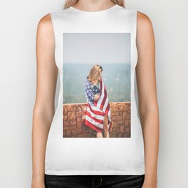 Girl in american flag Biker Tank