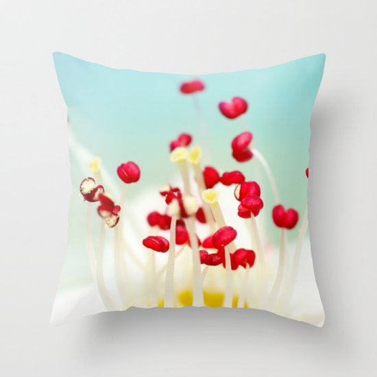 Blooming Candy Red Throw Pillow
