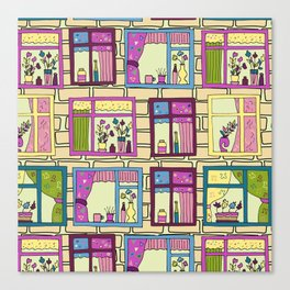 House wall with cute windows Canvas Print