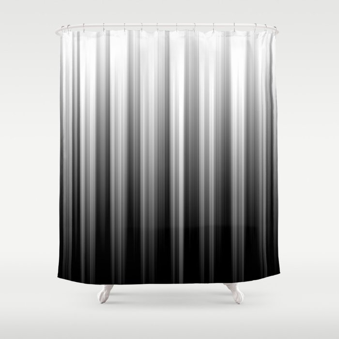 Black And White Soft Blurred Vertical Lines - Ombre Abstract Blurred Design Shower Curtain