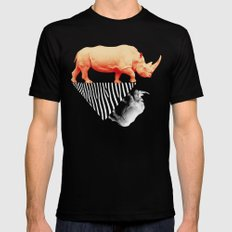 The orange rhinoceros who wanted to become a zebra MEDIUM Mens Fitted Tee Black