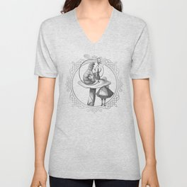 Alice and the Smoking Caterpillar - Alice in Wonderland Unisex V-Neck