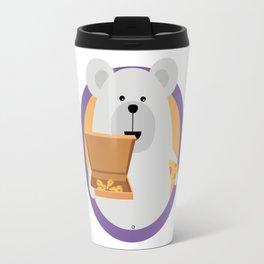 Polar Bear with Pizza in cirlce Travel Mug