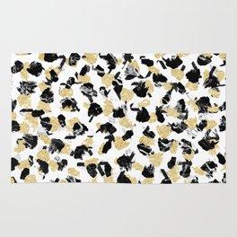 Black white marble faux gold glitter brushstrokes pattern Rug