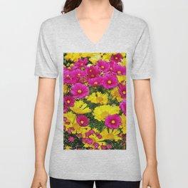 FUCHSIA GARDEN FLOWERS YELLOW COREOPSIS Unisex V-Neck