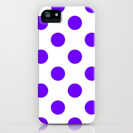 Large Polka Dots - Indigo Violet on White iPhone Case