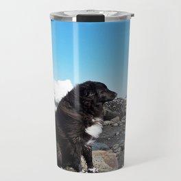 Coastal Dog on the Rocks Travel Mug