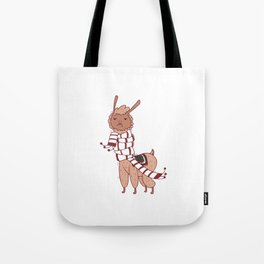 Unamused Llama Christmas Themed - Brown Tote Bag