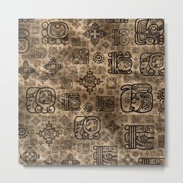 Mayan glyphs and ornaments pattern -black on gold Metal Print