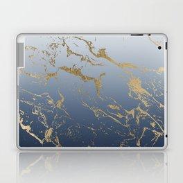 Modern grey navy blue ombre gold marble pattern Laptop & iPad Skin