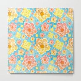 Beautiful blue and orange floral pattern Metal Print