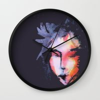 iron maiden Wall Clocks featuring Maiden by SliackyJo