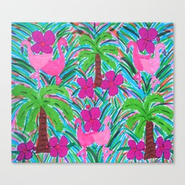 Beach Party with Palms and Flamingos Canvas Print