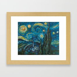 Modern interpretation of Vincent Van Gogh's scene of The Starry Night. Framed Art Print