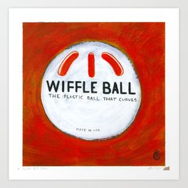 "Wiffle Ball (2011), 17"" x 17"", acrylic on gesso on chipboard Art Print"