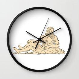 Hercules Reclining Looking to Side Drawing Wall Clock