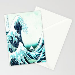the great wave : aqua teal Stationery Cards