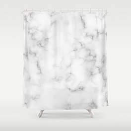 The Perfect Classic White with Grey Veins Marble Shower Curtain