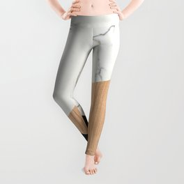 Marble and Wood Abstract Leggings