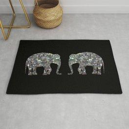Sparkly colourful silver mosaic Elephant Rug