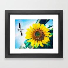 Soaring Bird Sunflower Framed Art Print