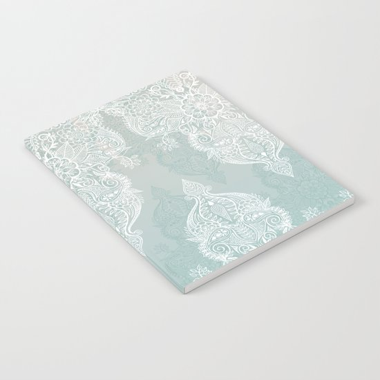 Lace & Shadows - soft sage grey & white Moroccan doodle Notebook