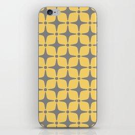 Mid Century Modern Star Pattern Yellow and Gray iPhone Skin