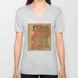 Vintage Geological Map of Yellowstone National Park (1878) Unisex V-Neck