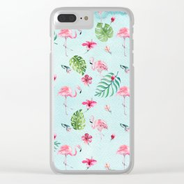 Watercolor blue green tropical floral pink flamingo Clear iPhone Case